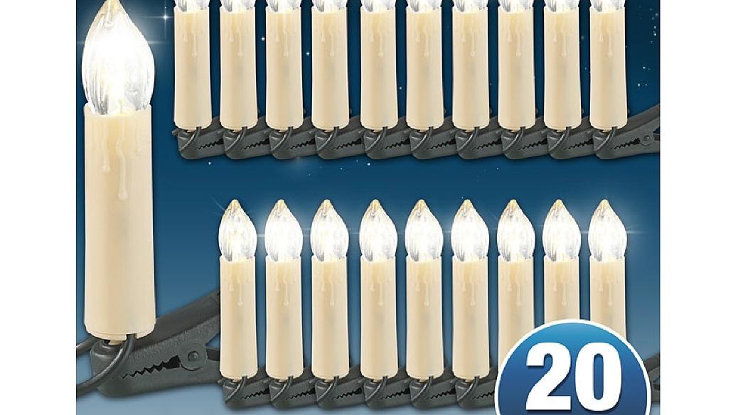 led weihnachtsbaum lichterkette mit 20 led kerzen. Black Bedroom Furniture Sets. Home Design Ideas